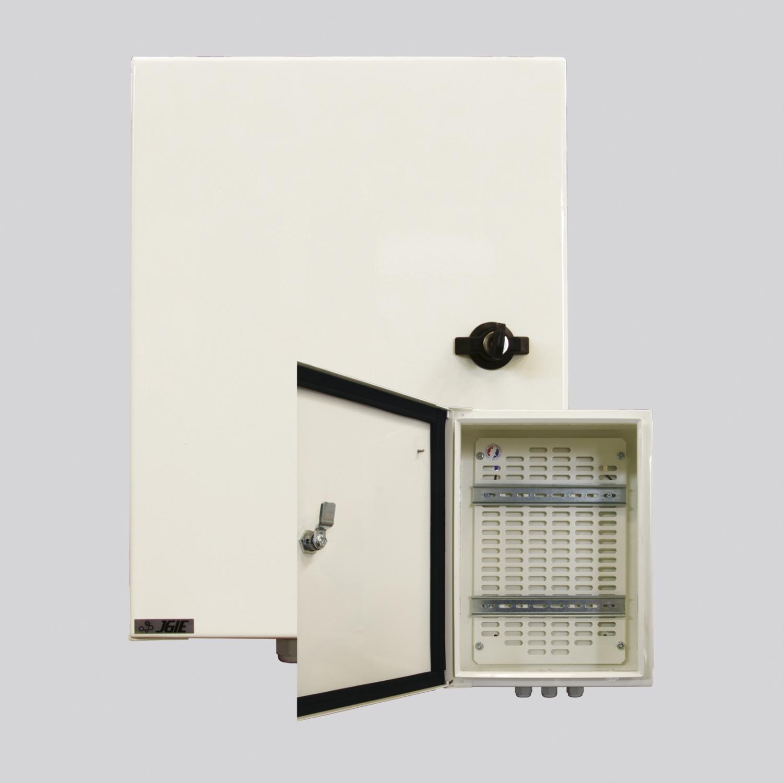 Coffret tôle étanche RAL 9010. H400 x L300ep180mm serrure 2 rails DIN